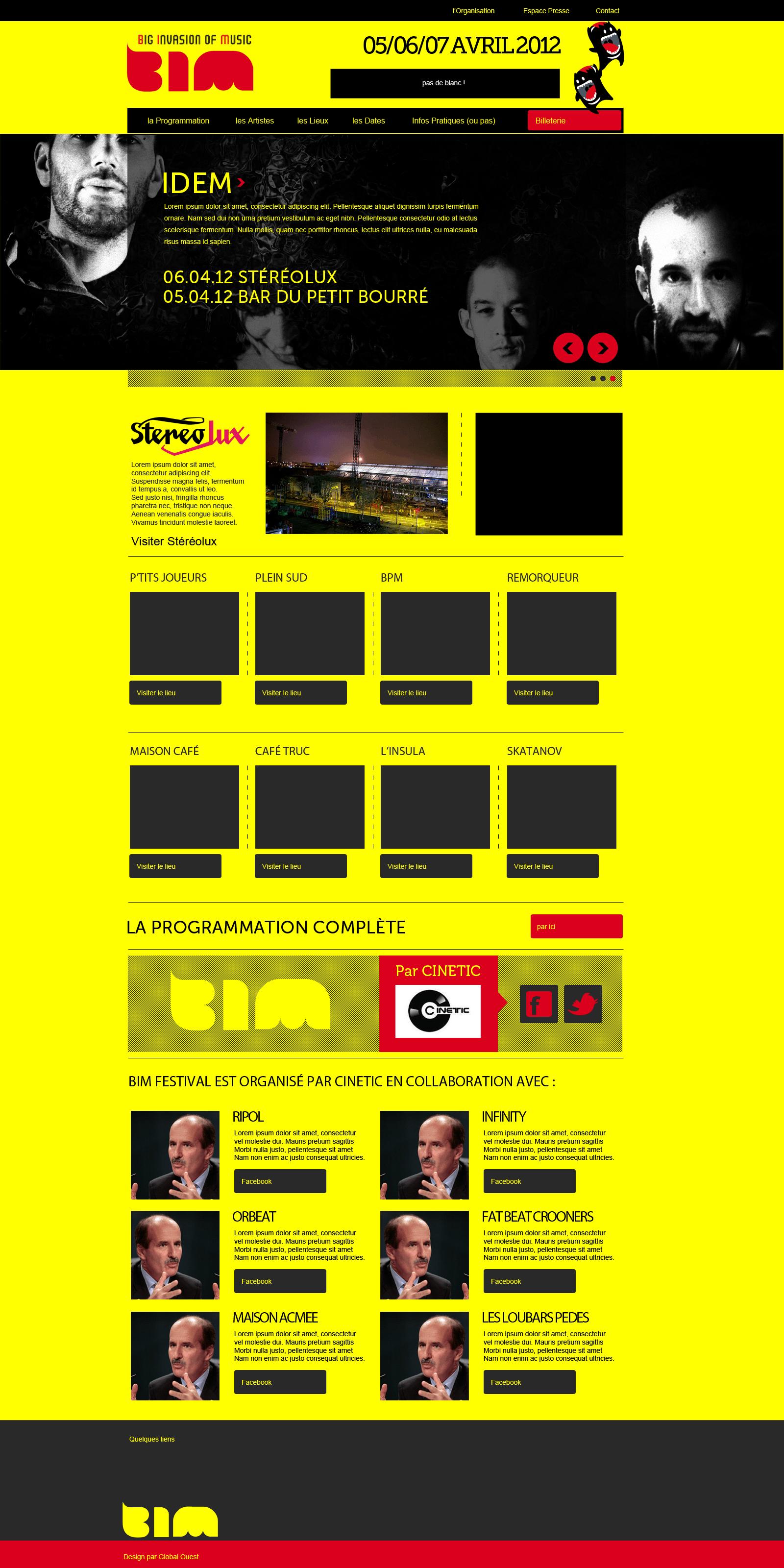 Webdesign pour Bim Festival