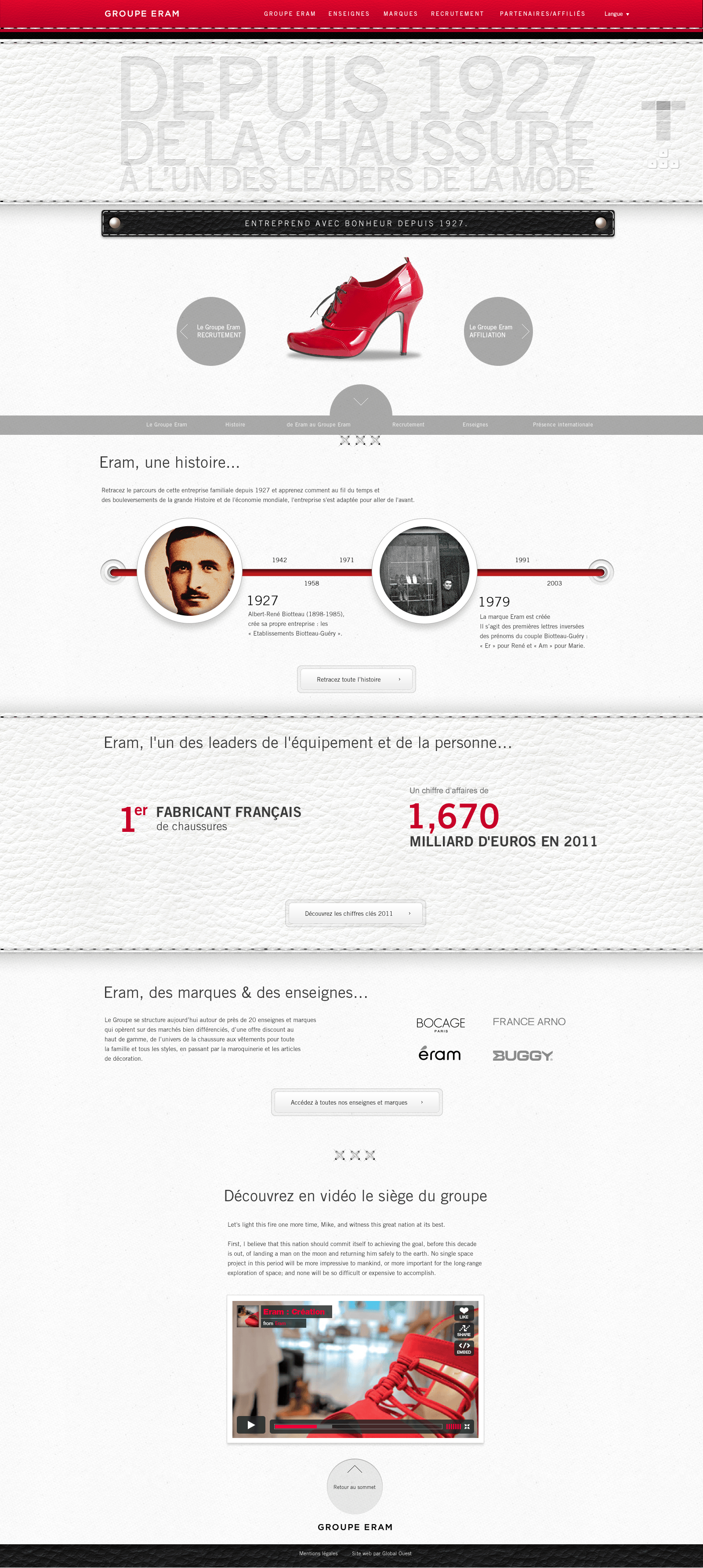Webdesign pour Groupe Eram