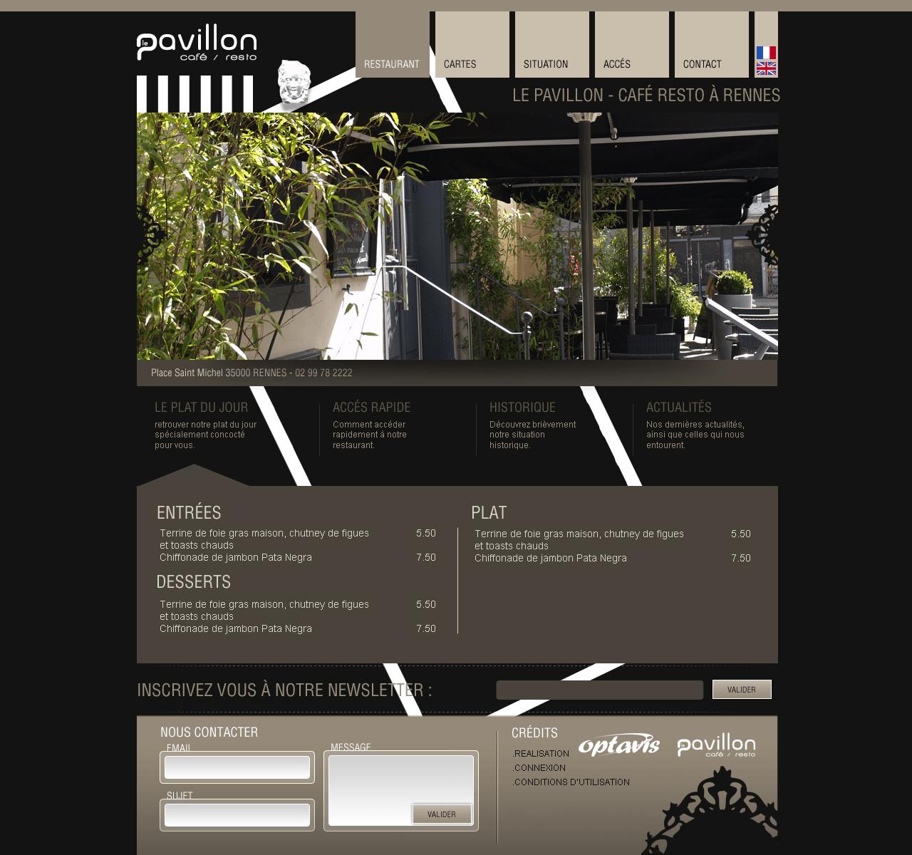 Webdesign pour Le Pavillon
